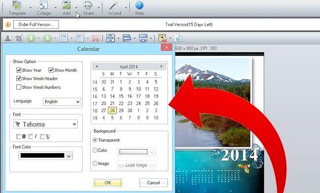 Imagine intitulată Faceți calendarul 2011 utilizând Picture Collage Maker Pro Pasul 4