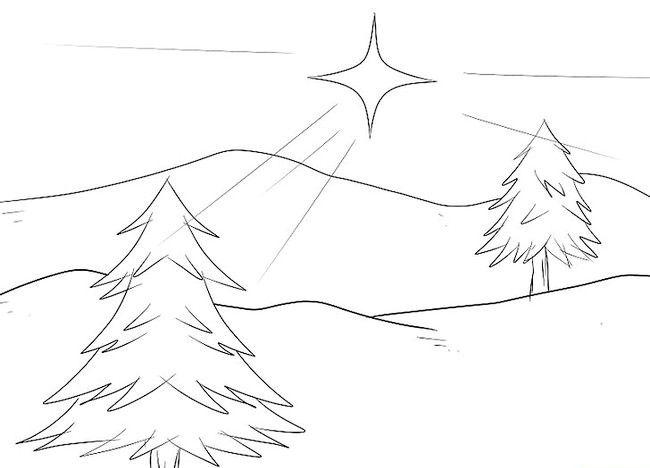 Imagine intitulată Desenează un peisaj de Crăciun Pasul 4
