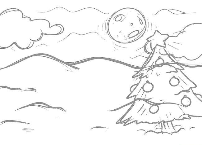 Imagine intitulată Desenează un peisaj de Crăciun Pasul 8