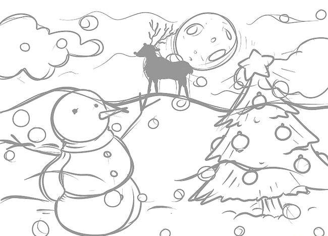 Imagine intitulată Desenează un peisaj de Crăciun Pasul 10