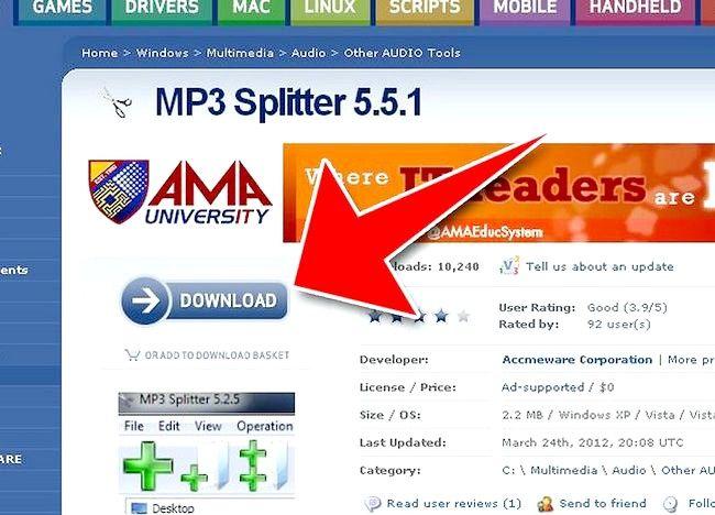 Imagine intitulată Split fișiere MP3 utilizând Splitter MP3 Pasul 1