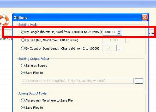 Imagine intitulată Split fișiere MP3 utilizând Splitter MP3 Pasul 5