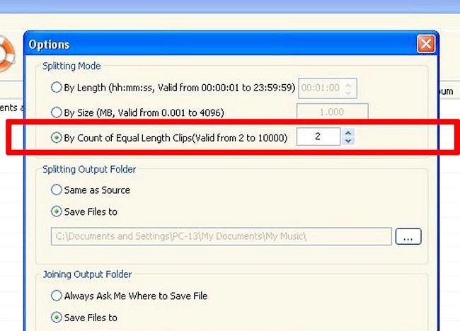 Imaginea intitulată Split fișiere MP3 utilizând Splitter MP3 Pasul 7