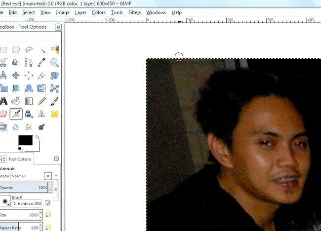 Imaginea intitulată Eyes red pe fotografii utilizând GIMP Pasul 2